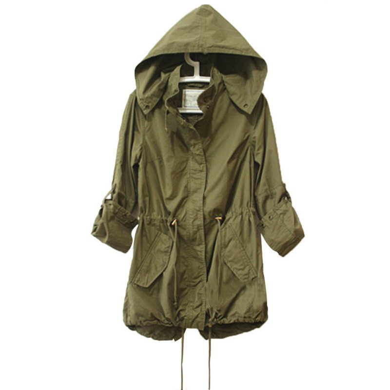 Women Winter Army Green Military Parka Trench Hooded Coat