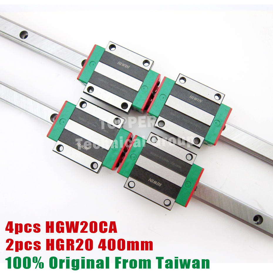 HIWIN 2pcs HGR20 Linear Rail 400mm 4pcs HGW20CC CNC Linear Guide Rail Block HGW20