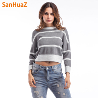 SanHuaZ Brand 2017 Winter Autumn Women S Sweaters Casual O Neck Long Sleeve Striped Slim Pullovers