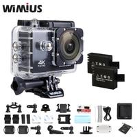 Wimius wifiアクションカメラ4 k 30fpsスポーツウルトラhd 1080 p 60fps 16mpミニビデオヘルメットカマラ行く水中40メートルプロ+アクセサリー