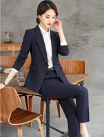Fashion Striped High Quality Fabric Uniform Designs Women Business Suits With Pencil Pants and Jackets Coat Ladies Pants Suits