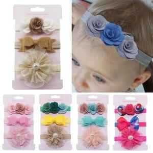 Śliczne 3 sztuk/partia dzieci elastyczny kwiatowy pałąk dziewczyny dziecko Bowknot nakrycia głowy dziewczyny akcesoria do włosów gumki Hairband Set