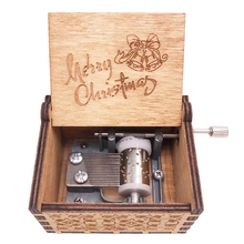 Christmas Music Box Hand Crank Musical Carved Wood Gifts for Kids Toys,Play We Wish You a Merry