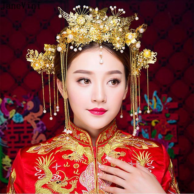 62f40f99b JaneVini Traditional Chinese Ancient Bridal Headdress Costume Gold Long  Tassel Hairpin Earrings Wedding Jewelry Hair Accessories