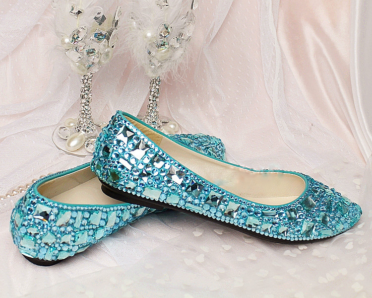 2016 Popular Sky Blue Flat Heel crystal lady's formal shoes Jeweled Beaded Bridal Evening Party Wedding Dress Bridesmaid Shoes gorgeous full pearls high heel lady s formal jeweled women s beaded bridal evening wedding prom party bridesmaid shoes