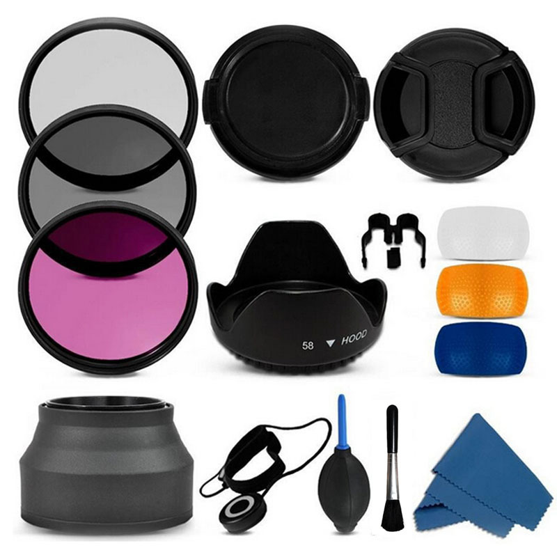 100% Professional 55mm uv cpl fld Filter Lens Hood & Cap Camera cleaning kit for nikon canon