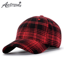 AETRENDS 2018 Autumn Winter Baseball Cap Men Women Plaid Cotton Cap 6 Panel Hat Fashion