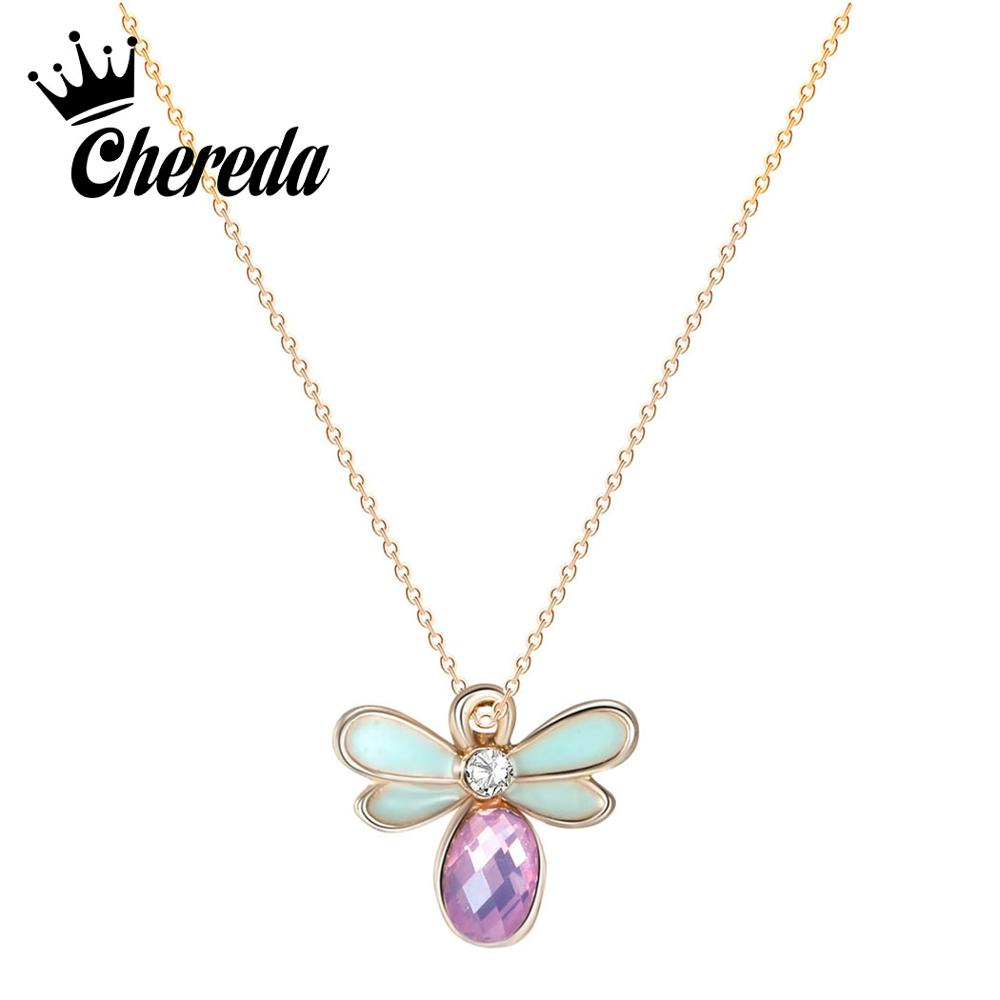 Chereda Cute Bee Necklaces Bird Pendant Necklace Korean Style Animal Kids Party Jewelry
