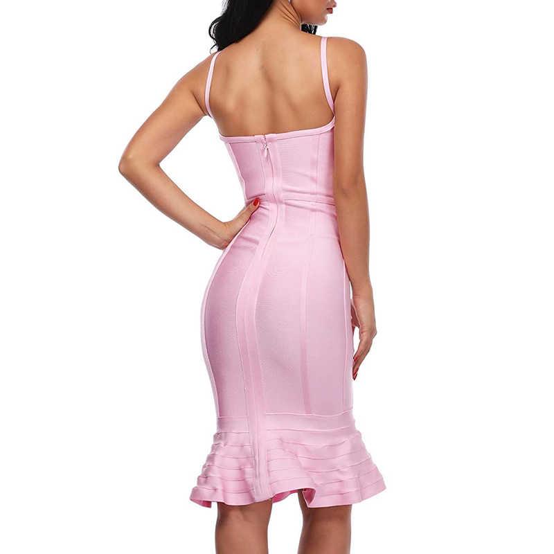 INDRESSME элегантные Для женщин Бандажное вечерние сексуальное платье с глубоким v-образным вырезом Спагетти ремень с низким вырезом на спине платье миди Русалка Женская обувь Femme Vestidos 2019 Новый