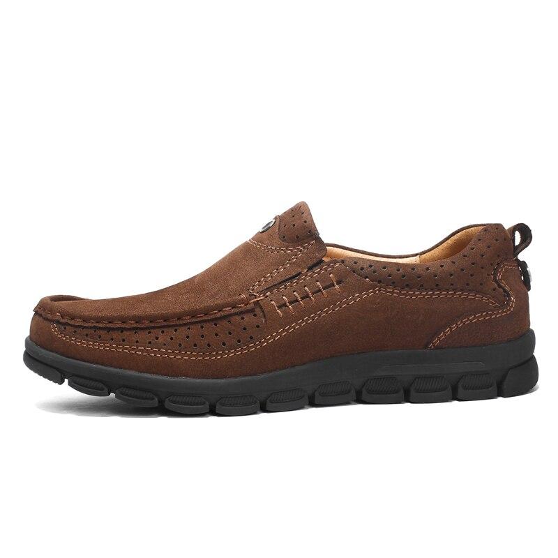 Couro Homem light Homens Flats khaki Casuais Qualidade Macio De Brown Dark Conforto Brown Genuíno Borracha Calçado Alta Negócios Antiderrapante Sapatos SwwITE