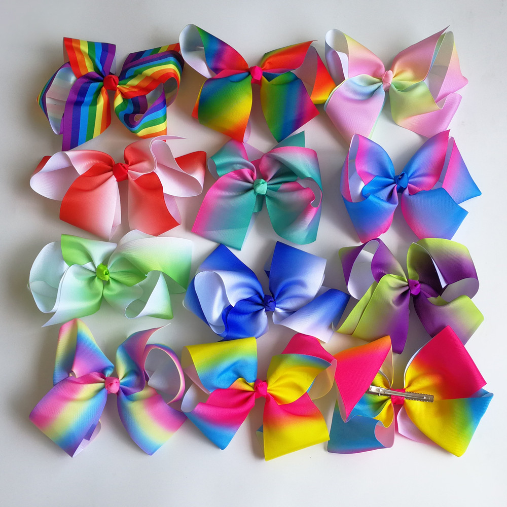 Wholesale JO JO 8'' grosgrain ribbon hair bows hair clips boutique rainbows bow girls hairbow For Teens Gift 120pcs/lot 2542 3 5 inch grosgrain ribbon hair bow diy children hair accessories baby hairbow girl hair bows without clip 16pcs lot