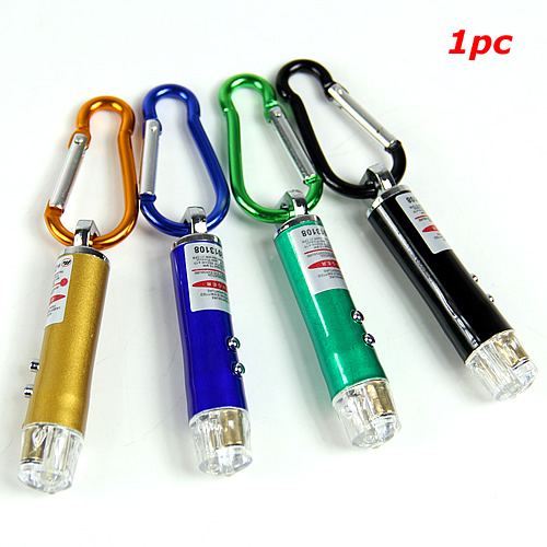 OOTDTY Portable Laser Pointer Pen Flashlight Torch Emergency Keychain Light