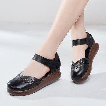Sandalo Bianco Con Plateau | 2019 Nuova Testa Rotonda Di Spessore Con La Suola Incunea I Sandali Estate Sandali Di Cuoio Genuino Di Modo Eleganti Scarpe Da Donna Sandali Nero Bianco