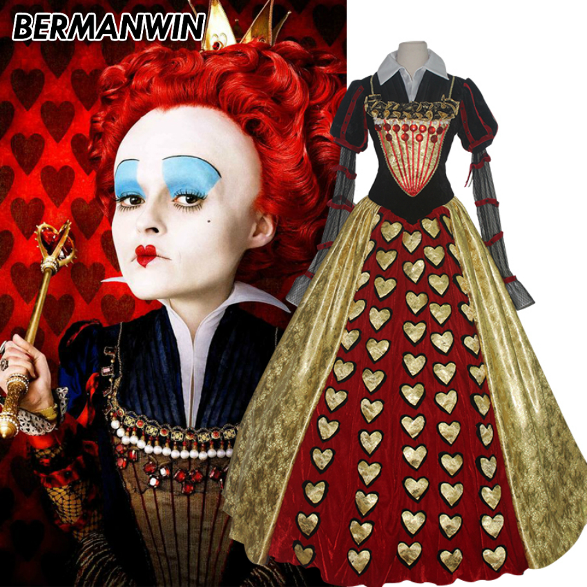 BERMANWIN New High Quality Alice In Wonderland The Red Queen costume dress adult women Halloween Cosplay Costume