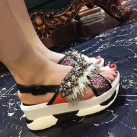 Platform Weges Shoes Woman Sandals Tide String Beads Casual Woman Slides Waterproof Designer Fringe Woman Shoes Woman Sandals