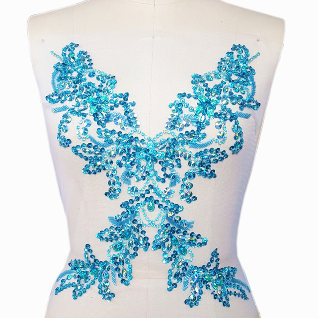 Baby Blue Goddess 29x39cm Patches Applique Beaded Rhinestones For Sewing  Clothing Evening Wedding Dress decorative Accessories f8cc62dac401
