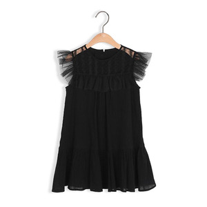 kids girls summer lace tulle princess party Frocks fashion children clothing Kids black ruffle dress For 3 4 6 8 10 12 14 yrs(China)