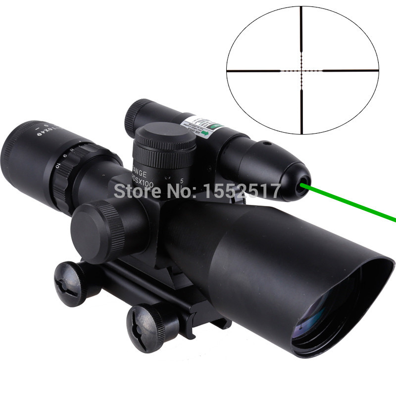 Tactical Compact Laser Riflescope 2.5-10X40 Riflescope Illuminated Tactical Riflescope with Green Laser Hunting Scope hot sale 2 5 10x40 riflescope illuminated tactical riflescope with red laser scope hunting scope page 8