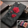Iphonecase chic rose bordado cubierta de coque iphone 6 6 s 7 arte elegante flor hecha a mano del teléfono iphone6 plus iphone7plus case