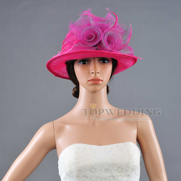 NEW Rose Wedding Church Hat Formal Dresses Sinamay Ladies Wide Brim Bridal  Hats for Races Kentucky Derby Party  Fedoras efc5c8fd9fd