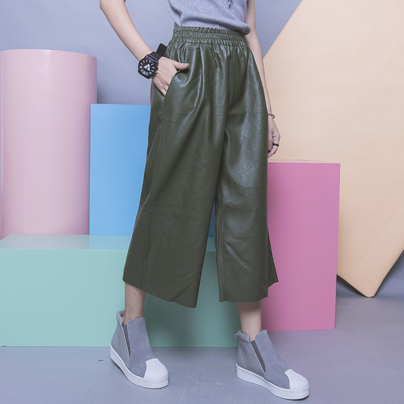 2016 New Autumn Fashion Black and Army green PU Cortex Clipping Elastic Waist Ankle-Length   Wide     leg     Pants   YD9031