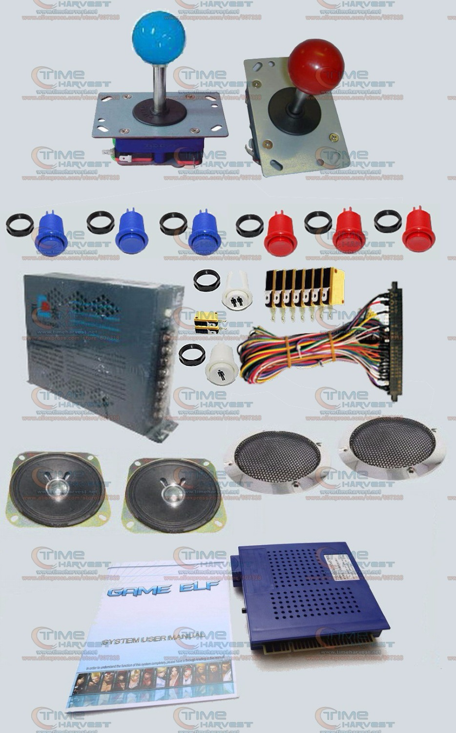 Arcade parts Bundles kit With Game elf 412 in 1 Long shaft Joystick american style button Jamma Harness 16A power supply speaker arcade jamma mame diy parts kit 2 american style joysticks