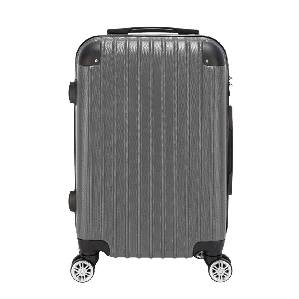 20 Inch Waterproof Spinner Luggage Travel Business Large Capacity Suitcase Bag Rolling Wheels Gray Color