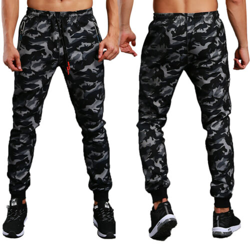 Men Joggers Workout Gyms Camo Pants Casual Camouflage Sweatpants Skinny Trousers