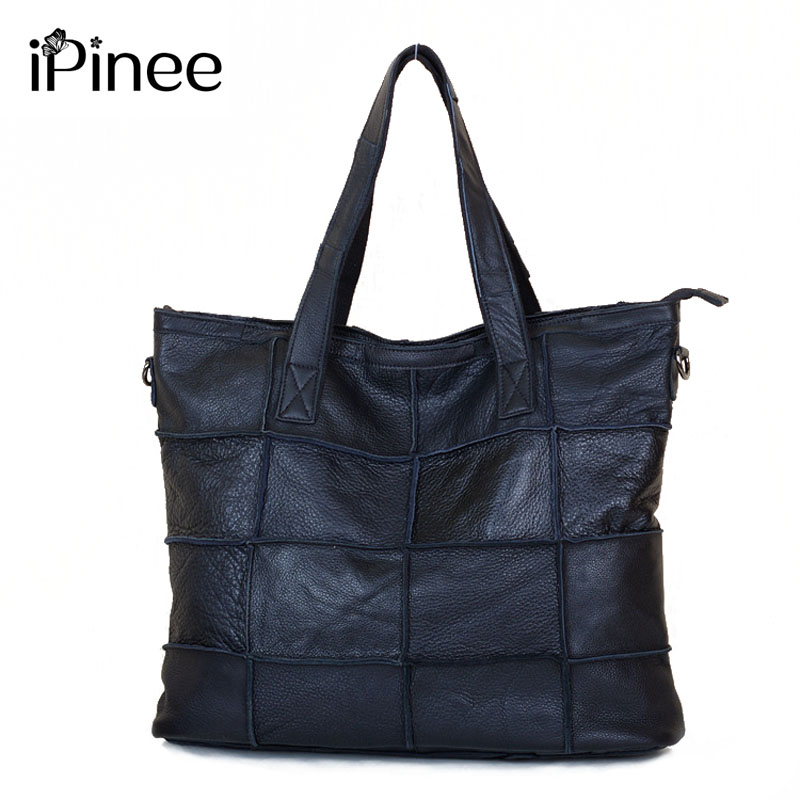 сумка aquapac 053 trailproof tote bag large iPinee Large Cowhide Women Bag Genuine Leather Tote Patchwork Bags Designer Handbag Black Free Shipping