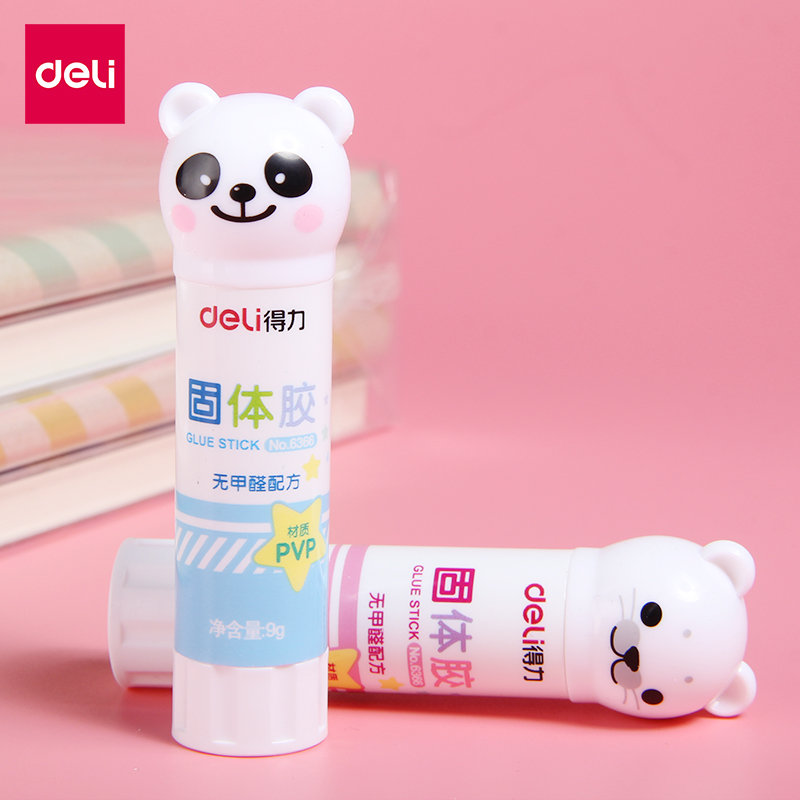 2Pcs Cartoon Panda Bear PVA Solid Glue Stick 9g High Viscosity School Supplies Students Stationery DIY Handwork School Art 6366