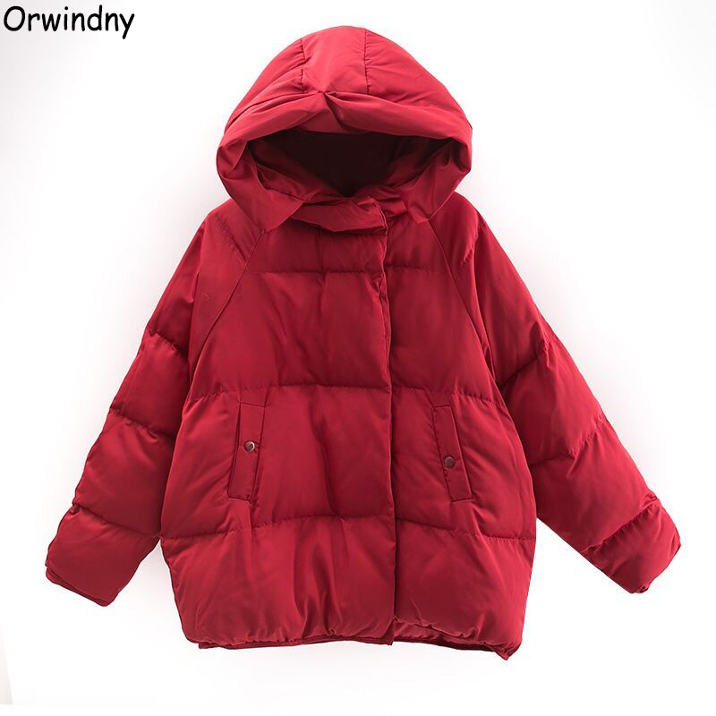 Orwindny Women Short Loose   Parkas   Warm Winter Jacket Coat Red Cotton-padded Hooded Outerwear Autumn Thicken Clothing