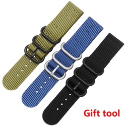 18mm 20mm 22mm 24mm 26mm Nato Strap Watch Band Men Silver Buckle Canvas DW Belts Watch Strap Zulu Watchband