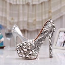 Women High Heel Prom Bridal Wedding Shoes Lady Platforms Silver Glitter Rhienstone Thin Heel Formal Dress Pumps Bridesmaid Shoes