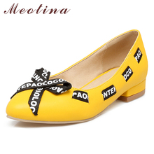 Купить с кэшбэком Meotina Ballet Flats Shoes Women Mixed Color Flat Shoes Bow Pointed Toe Ladies Shoes Footwear Spring Yellow Pink Large 3-12 46