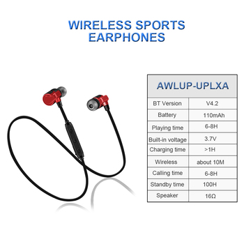 ALWUP UP-LXA Magnetic Bluetooth Earphone Stereo Sport Wireless Headphone with Mic for xiaomi Bluetooth Headset 6H Music Time 1