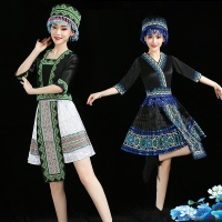 Hmong clothes design women Chinese traditional folk dance costumes modern hmong clothes thnic stage dance wear AA4590
