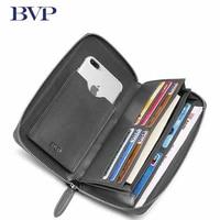 Top High Quality Genuine Leather Man Clutch Wallet Cow Leather Business Dot Zipper Long Wallet Organizer Phone Handbag Purse 50