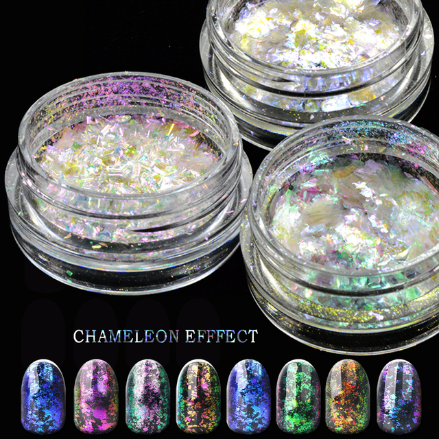 1pcs Sparkly Holo Chameleon Mirror Nail Art Glitter Powder Holographic Effect Charming Mix Color Manicure Tips JIBS28-35