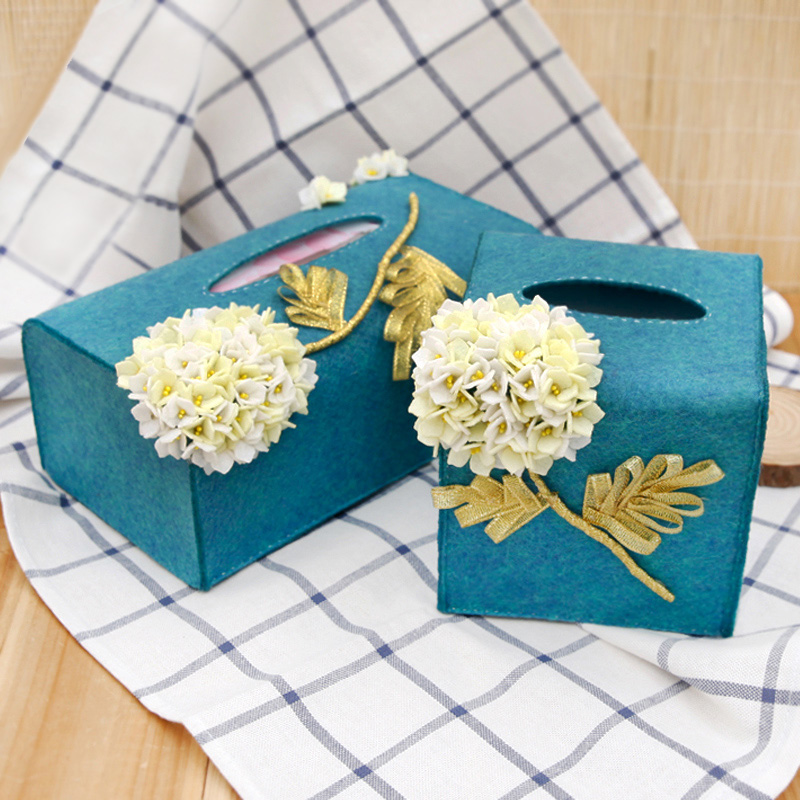 Handmade Felt Cloth Home Car Tissue Case Box Paper Towel Box Creative Scandinavian Style Napkin Papers Case Felt DIY Package