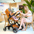 free shipping  Baby Stroller   2 in 1 Luxury Leather hood Stroller baby strollers 3 colors Free gifts