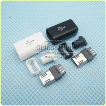 200sets/lot 4 in 1 Micro USB Jack connector male plug,Micro Connector Tail Charging plug,colour white and black