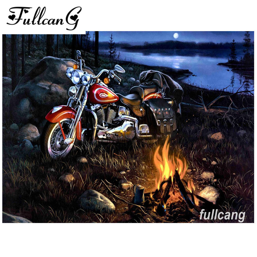 The motorcycle mosaic painting diamond painting cross stitch full square pasted diamond  ...