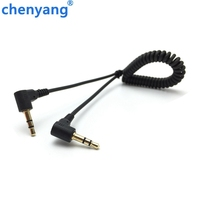 Spring Audio Cable Stereo 3.5mm Double bend 90 degree Male Audio Line Mp3 Mobile Phone to Car Aux Speaker Audio Wire