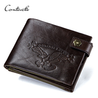 CONTACT S 100 Cowhide Wallets Men Small Walet With Coin Pocket Portfolio Male Portomonee Crazy Horse