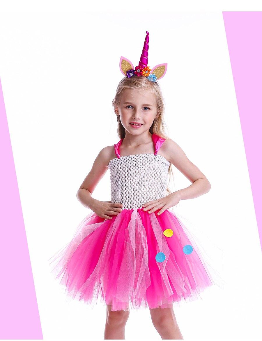 Girls Rainbow Tutu Dress with Unicorn Headband Children Princess Fancy Party Dress Christmas Halloween Kids Pony Costume (2)