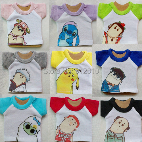 Cute Crooked Neck Print T-Shirt Multicolors for BJD 1/8 1/6 YOSD,1/4 MSD,1/3 SD10 SD13 SD17 Uncle Doll Clothes CW85
