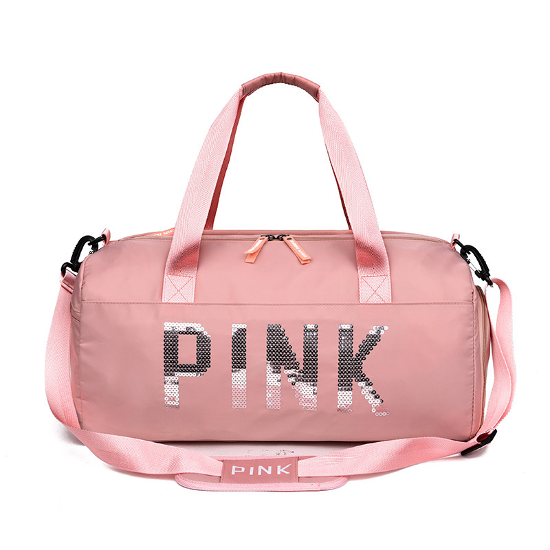 Handbag Duffel-Bags Weekend Sequins Pink Sports Women Ladies Fashion Black LGX65