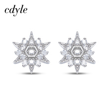 Cdyle S925 Sterling Silver EEmbellished with crystals from Swarovski Brinco Feminino Dazzling Zircons Snowflake Stud Earrings
