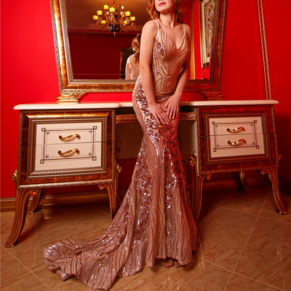 2019 Sexy V Neck Evening Party Dress Fashion Sleeveless Floor-Length Sequined Maxi Dress Mermaid Backless Female Vestidos XS-L