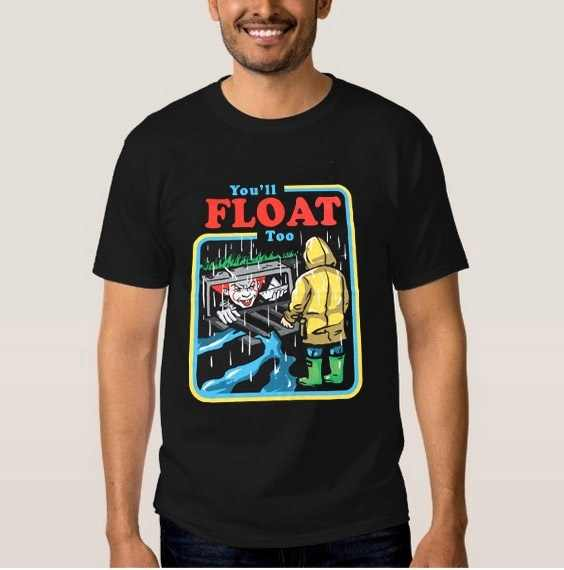 kuakuayu HJN 1pcs Black Shirt Float to Your Boat It The Movie Youll Float Too Georgie Pennywise The Clown Paper Boat T-Shirt